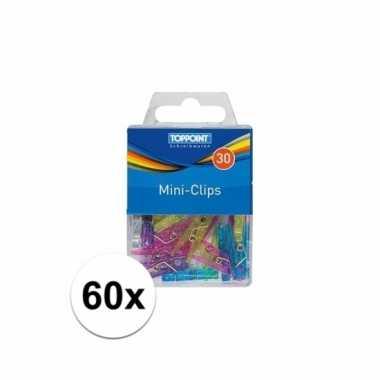 Mini knijpertjes doosje van 60 stuks