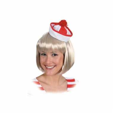 Mini sailor hoedje rood/wit