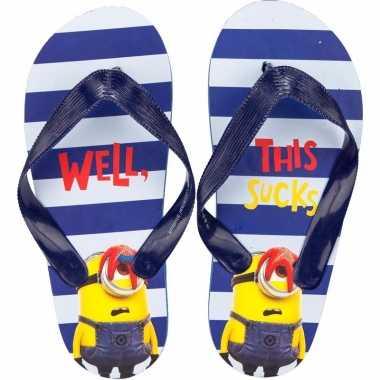 Minions kids slippers met strepen