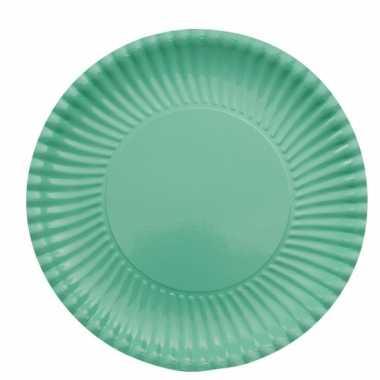 Mint groene barbecue borden 23 cm