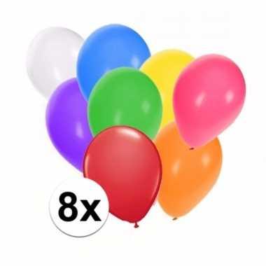 Mix ballonnen gekleurd 8 stuks