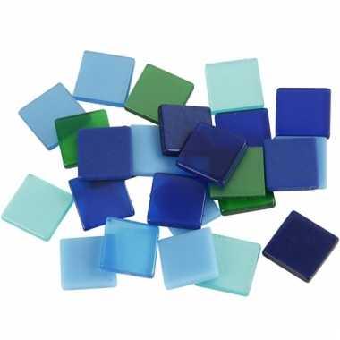 Mozaiek stenen groen/blauw 10x10 mm
