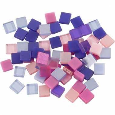 Mozaiek stenen paars/roze 5x5 mm