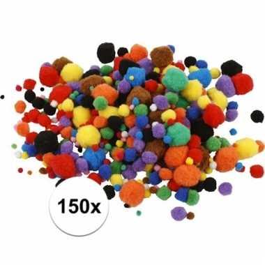 Multi kleur decoratieve pompons 15-40 mm 150