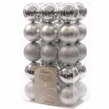 Mystic christmas zilveren kerstversiering kerstballen pakket 30 stuks