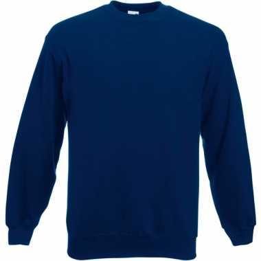Navy blauwe fruit of the loom sweater ronde hals
