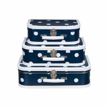 Navy koffertje met witte stip 25 cm