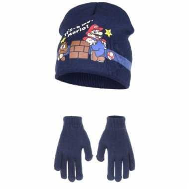 Navy super mario muts en handschoenen