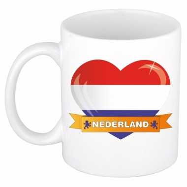 Nederlandse vlag hart mok / beker 300 ml