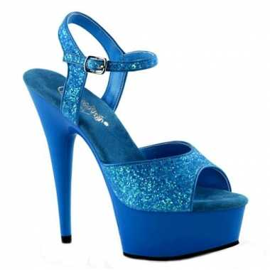 Neon blauwe glitter sandalen