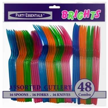 Neon kleurige bestekset 48 stuks