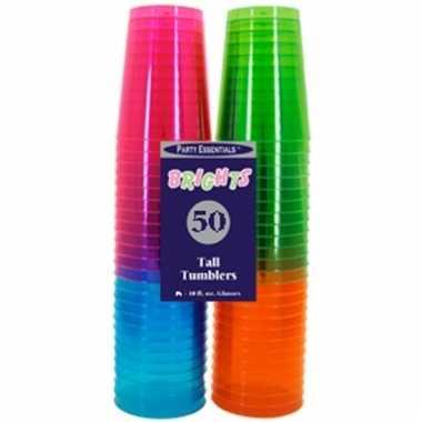 Neon kleurige bierglazen 50 stuks