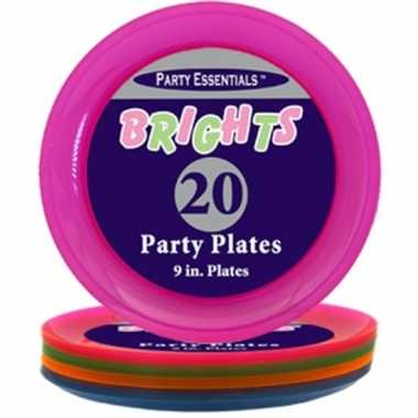 Neon kleurige eetborden 20 stuks