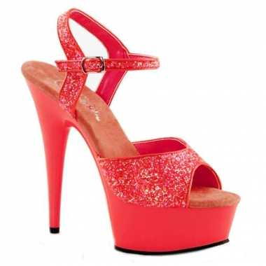 Neon koraalroze glitter sandalen