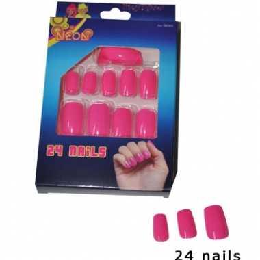 Neon kunstnagels roze