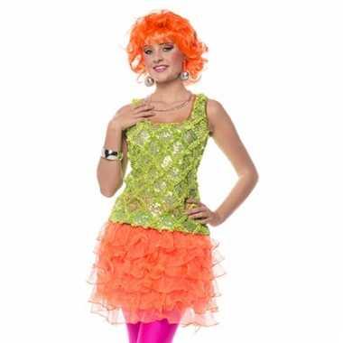 Neon oranje ruches rokje voor dames