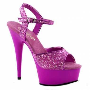 Neon paarse glitter sandalen