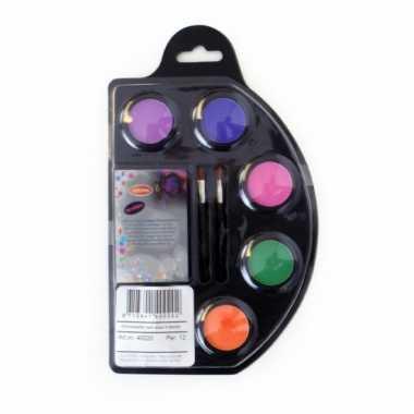 Neon schmink setje zes kleuren