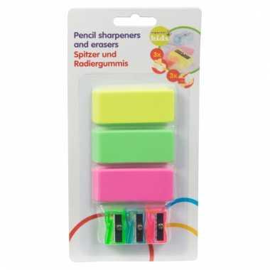 Neon school spullen gummetjes + puntenslijpers