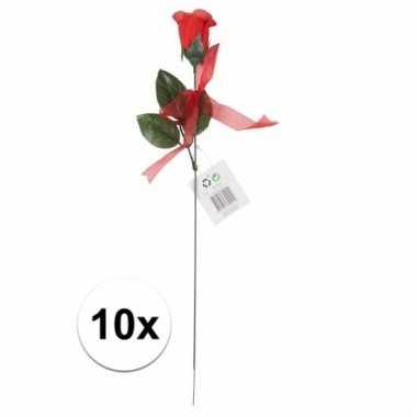 Nep rode rozen 10 stuks 45 cm