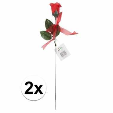 Nep rode rozen 2 stuks 45 cm