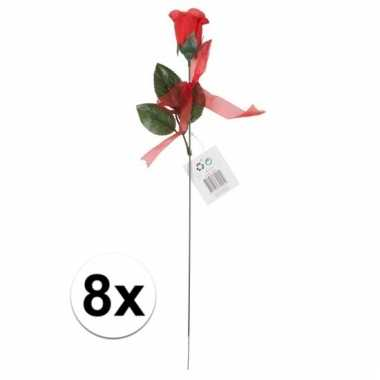 Nep rode rozen 8 stuks 45 cm