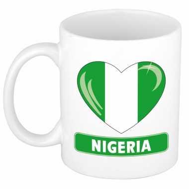 Nigeriaanse vlag hart mok / beker 300 ml