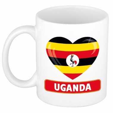 Oegandese vlag hart mok / beker 300 ml