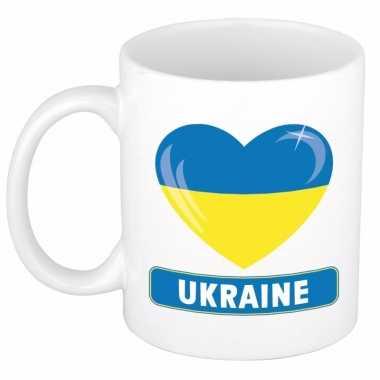 Oekraiense vlag hart mok / beker 300 ml