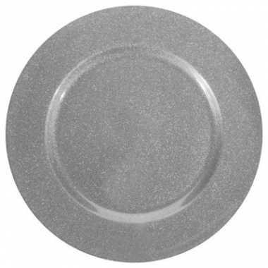 Onderzetbord glitter zilver 33 cm