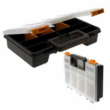 Opberg/sorteer box zwart 8-vaks 29 cm
