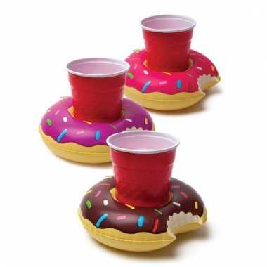 Opblaas donut beker houders 3 stuks