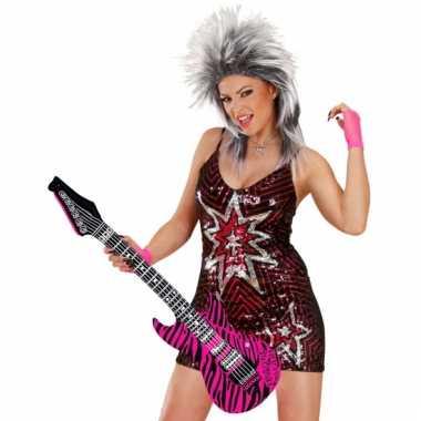 Opblaas gitaar roze 105 cm