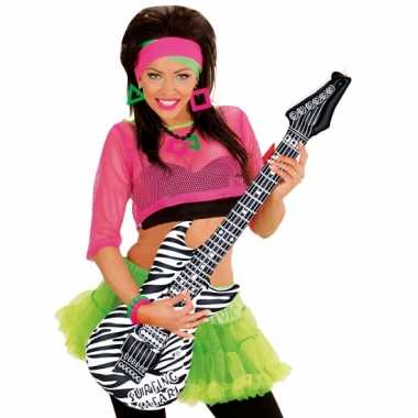 Opblaas gitaar wit zebra 105 cm