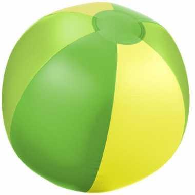 Opblaas strandbal groen met geel