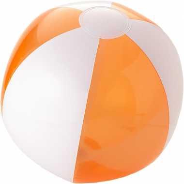 Opblaas strandbal oranje met wit