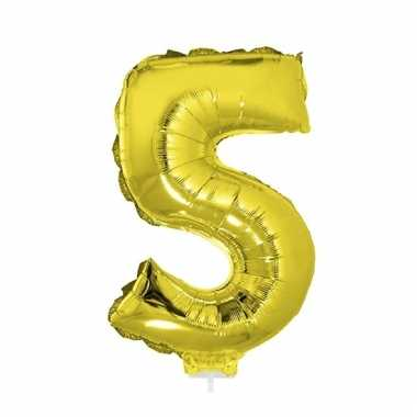 Opblaasbare cijfer 5 goud 41 cm