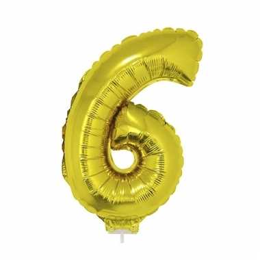 Opblaasbare cijfer 6 goud 41 cm