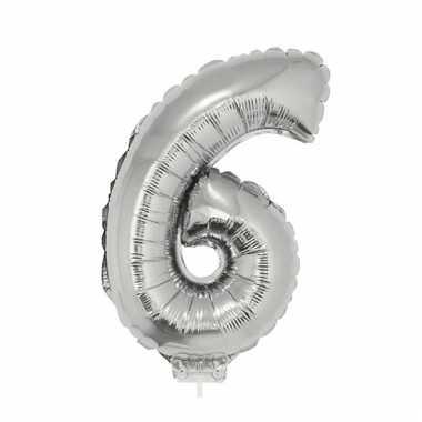 Opblaasbare cijfer 6 zilver 41 cm