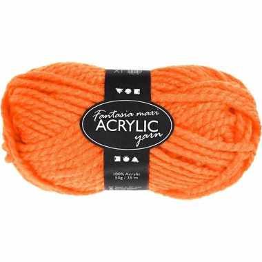 Oranje 2-draads acryl garen 35 meter