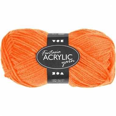 Oranje acryl 3-draads garen 80 meter