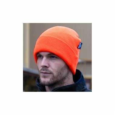 Oranje beanie voor volwassenen