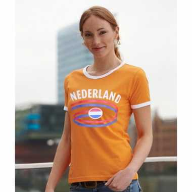 Oranje dames shirtje met nederlandse vlag