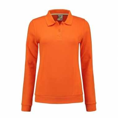 Oranje dames sweaters met polo kraag