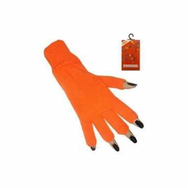 Oranje handschoenen vingerloos