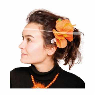 Oranje hawaii haarclip