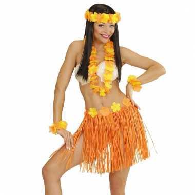 Oranje hawaii verkleedset voor dames