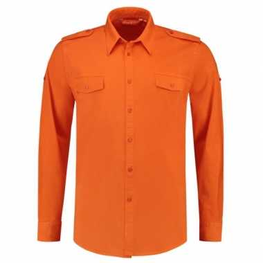 Oranje heren blouse bodyfit
