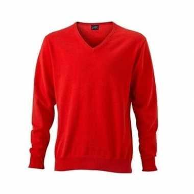 Oranje katoenen heren sweater met v-hals