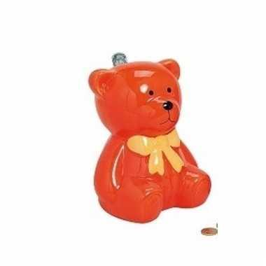 Oranje kinder teddybeer spaarpot